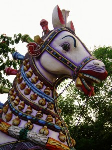 Horse in front of a temple